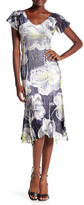 Komarov V-Neck Flutter Sleeve Dress