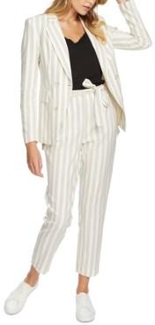 1 STATE Striped Cotton Tie-Waist Pants