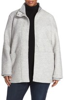 Halogen Zip Front Stand Collar Coat (Plus Size)
