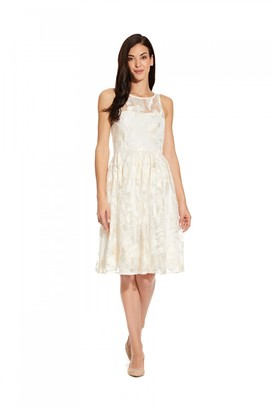Adrianna Papell Embroidered Sequin Midi Dress In Ivory
