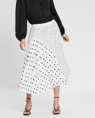 Banana Republic Pleated Midi Mixed Dot Skirt