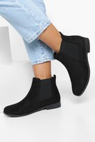 boohoo Wide Fit Suedette Flat Chelsea Boots
