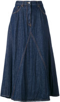 MM6 MAISON MARGIELA crumpled raw washed open weave midi skirt