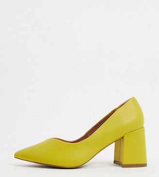 ASOS DESIGN Wide Fit Switch mid heeled court shoes in chartreuse