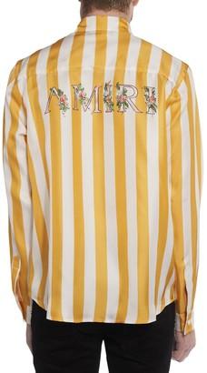 Amiri Floral Logo Striped Silk Twill Shirt