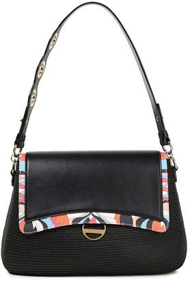 Emilio Pucci Faux Straw, Printed And Smooth Leather Shoulder Bag