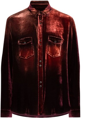 Saint Laurent Distressed Button-down Shirt Burgundy/bleach
