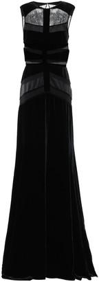 ZUHAIR MURAD Satin-trimmed Lace-paneled Velvet Gown