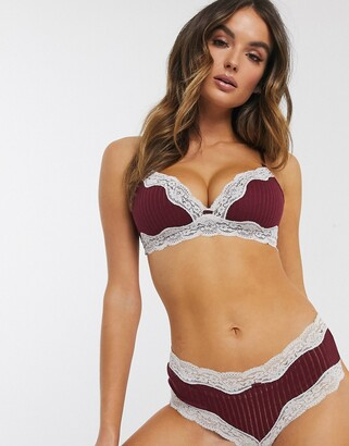 Women'secret cotton triangle bralette in burgundy