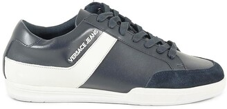 Versace New Marc Navy Blue Leather Suede Men's Sneakers