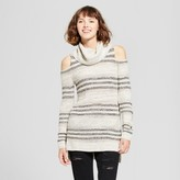 Mossimo Women's Striped Cold Shoulder Sweater Gray