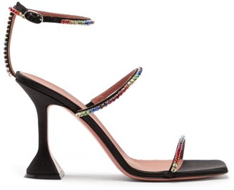 Amina Muaddi Gilda Crystal-embellished Satin Sandals - Crystal Multi