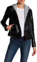 BLANKNYC Denim Faux Leather Removable Hood Jacket