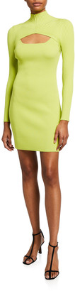 Jonathan Simkhai Corinna Compact-Knit Cutout Turtleneck Dress