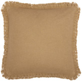 Vhc Brands Burlap Natural Pillow w/ Fringed Ruffle 18x18