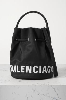Balenciaga Wheel Embroidered Canvas Bucket Bag - Black