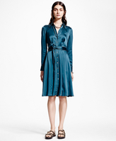 Brooks Brothers Silk Charmeuse Shirt Dress
