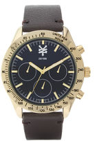 Zoo York Mens Brown And Goldtone Leather Strap Watch