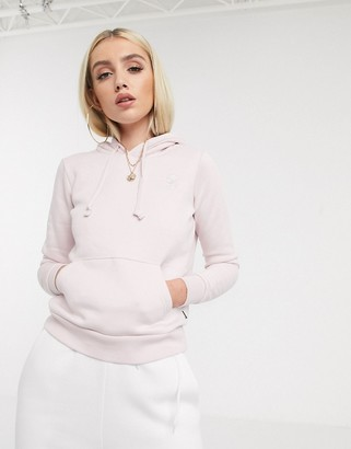 Converse Pale pink Star Chevron embroidered pull over hoodie