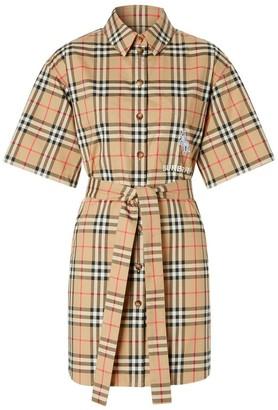 Burberry Zebra Applique Vintage Check Cotton Twill Shirt Dress