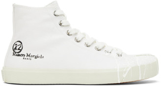 Maison Margiela White Canvas Pollock Tabi High-Top Sneakers