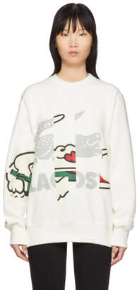 Lacoste Off-White Crocodile Print Sweatshirt