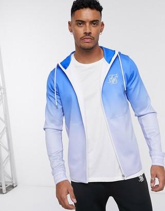 SikSilk zip through hoodie in blue ombre fade