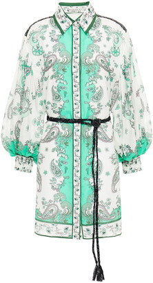 Alice + Olivia Oralia Printed Cotton And Silk-blend Mousseline Mini Shirt Dress