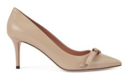 HUGO BOSS Heeled Pumps In Italian Leather With Bow Detail - Brown