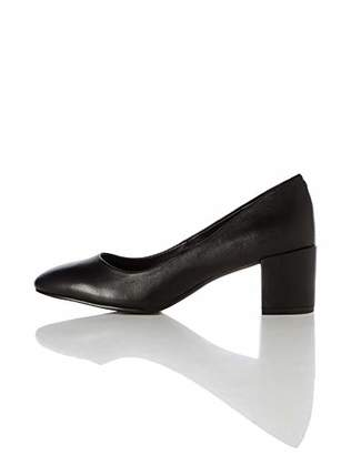 find. Round Toe Block Heel Leather Court Closed Pumps, Blue Navy)