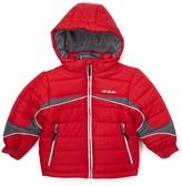 London Fog Red & Gray Color Block Logo Puffer Coat - Boys