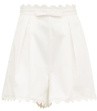 Zimmermann Scalloped-edge Cotton-pique Shorts - Womens - Ivory