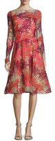 Naeem Khan Long-Sleeve Coral-Appliqué Illusion Cocktail Dress, Coral