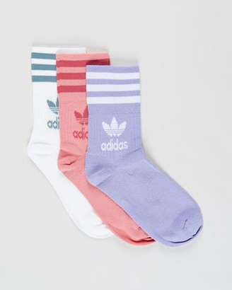 adidas Pink Crew Socks - Mid-Cut Solid Crew Socks 3-Pack - Size S at The Iconic