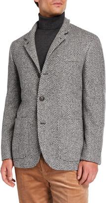Brunello Cucinelli Men's Chevron Three-Button Jacket