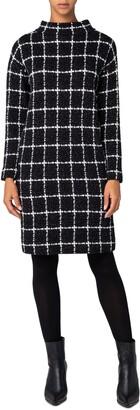 Akris Punto Grid Check Long Sleeve Jersey Dress