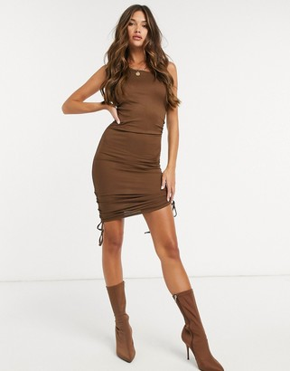 Love & Other Things gathered side mini dress in brown