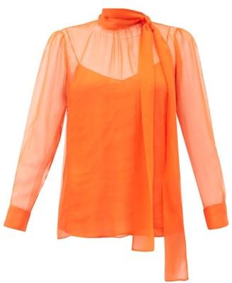 Valentino Pussy-bow Chiffon Blouse - Womens - Orange