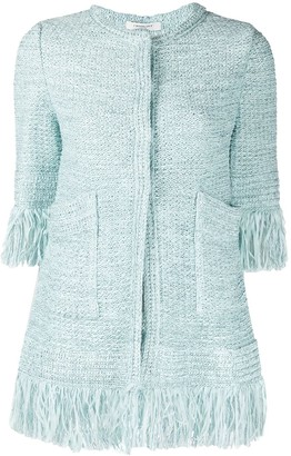 Charlott Fringed-Edge Tweed Jacket