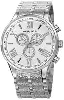 Akribos XXIV Swiss Quartz Chronograph Textured Stainless Steel Watch, 45mm