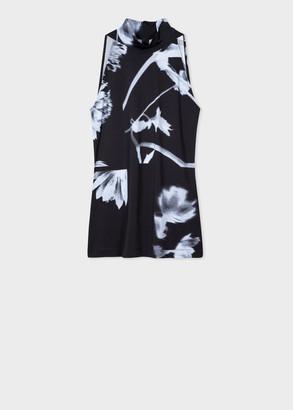 Paul Smith Women's Black 'Screen Floral' Print Sleeveless Turtle Neck Top