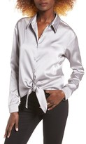 Leith Women's Satin Tie Front Blouse