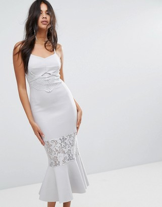 Asos Design ASOS Scuba Lace Paneled Bodycon Midi Dress