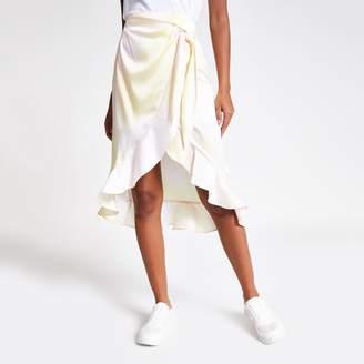 River Island Womens Yellow print wrap midi skirt
