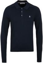 Penguin Dark Sapphire Knitted Long Sleeve Polo Shirt