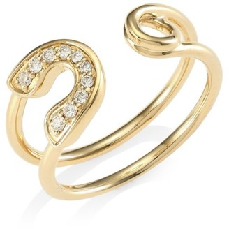 Sydney Evan Diamond & 14K Yellow Gold Safety Pin Wrap Ring