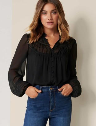 Forever New Cornelia Curved Yoke Blouse - Black - 10