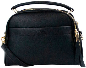 Mocha Michelle Double Zip Crossbody - Black