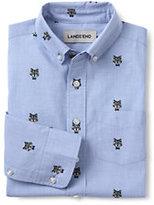 Classic Boys Husky Printed Poplin Shirt-Blue Jay Wolves
