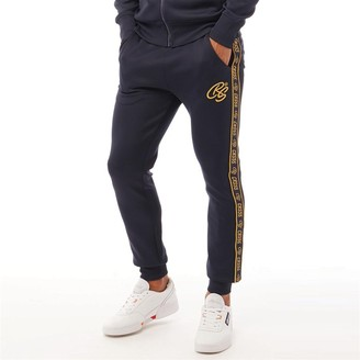 Crosshatch Mens Gold Bloom Tricot Gold Tape Joggers Navy